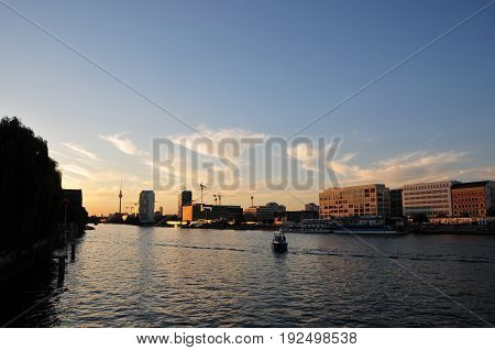 View from Oberbaumbrücke in Berlin at sunset