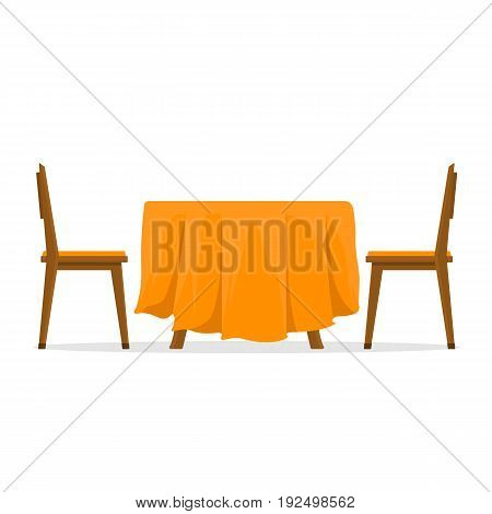 Dining table and chairs for two people. Vector illustration in flat style isolated on white background