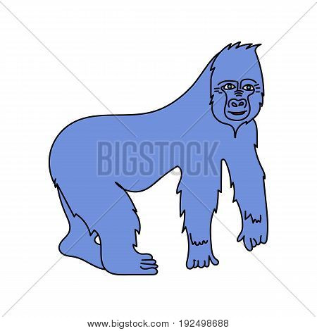 A big gorilla. Vector isolated image. Cartoon style.