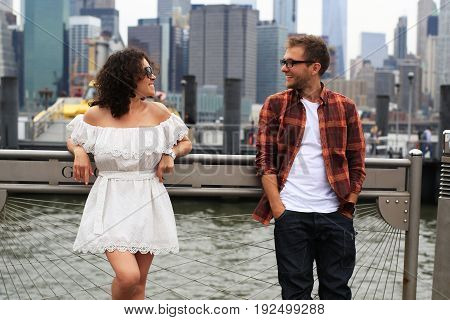 Young couple relaxing in new York during the holidays