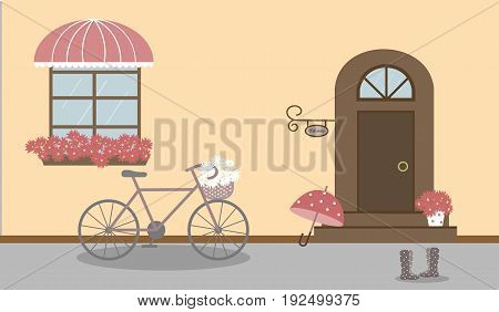 Pretty scenery in a rustic style. A house, window with a striped awning, door, stairs, red flowers. A bike and basket of daisies. Rain boots with polka dots. A cute umbrella. Vector illustration