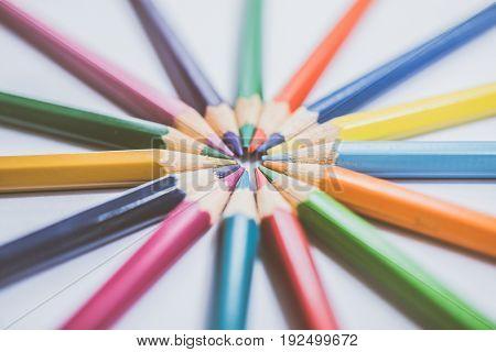 Colorful Pencils In Arrange In Color Wheel Colors, Warm Tone