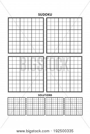 Sudoku puzzle blank template, four grids with solution grids, on A4 or Letter sized page with margins, suitable for large print books, just add your numbers and answers