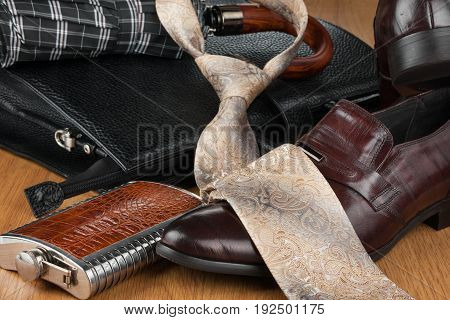 Beautiful picture of mens modern fashion can use as background. View from above