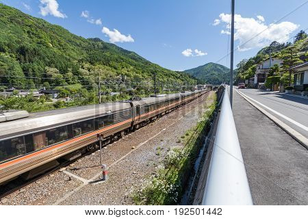 Passenger train on railway at Narai is a small town in Nagano Prefecture Japan The old town provided a pleasant walk through about a kilometre