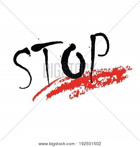 Vector illustration on colorless background with concept of a word stop