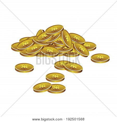 Realistick pile of colden coins with dollar symol on the colorless background