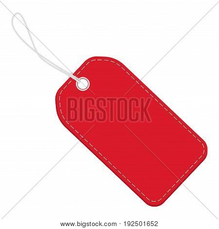 Realistic discount red leather tag for sale promotion. Vector label template