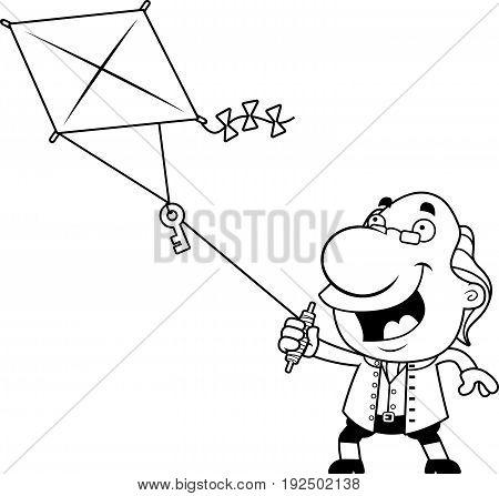 Cartoon Ben Franklin Kite