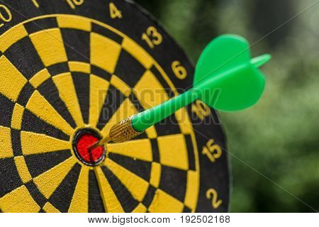 Business goals or targets concept with selective focus on a dart pin in the center of dartboard with green bokeh background.
