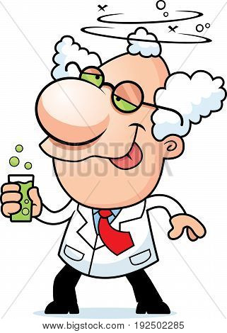 Cartoon Mad Scientist Drinking