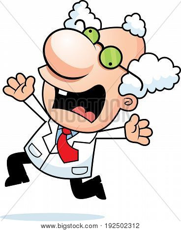 Cartoon Mad Scientist Panicking