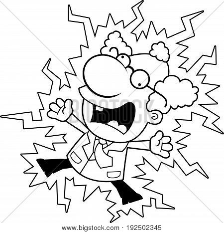 Cartoon Mad Scientist Electrocuted