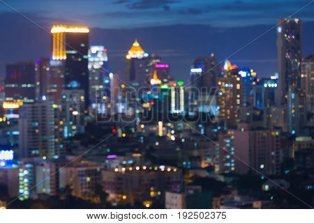 Abstract blurred bokeh light city downtown central business downtown abstract background