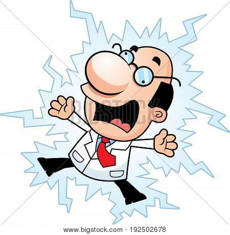 Cartoon Scientist Electrocuted