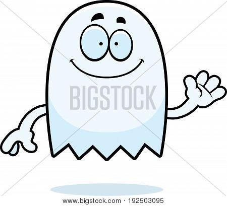Cartoon Ghost Waving