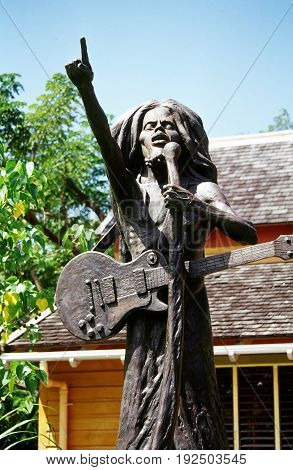OCTOBER 27, 2006. JAMAICA, VI. CIRCA:  Statue of Bob Marley on display for tourist to photograph.