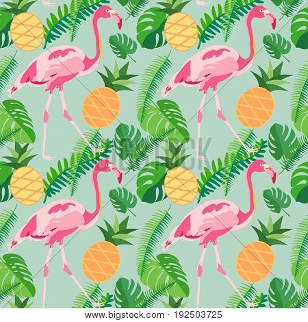 Tropical trendy seamless pattern with pink flamingos pineapples and palm leaves