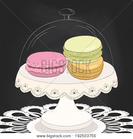 Colorful doodle macaroon on plate. Sketch macaroon. Chalkboard background. Macaroons handmade. Objects for design. French dessert. Cute macaroon with doodles. Vector illustration.