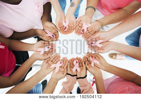 Hands Palms Show Pink Ribbon Together Cancer Awareness