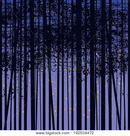 Seamless vector texture with a picture of the forest of trees against the starry sky. Birch forest vector background. Birch grove pattern. The night background with trees