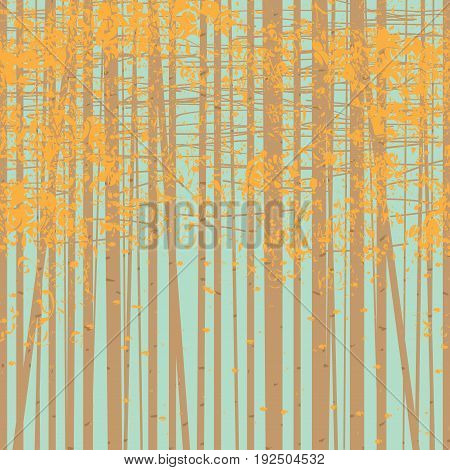 Vector seamless texture with the image of the autumn trees on blue sky background. Autumn forest vector background.