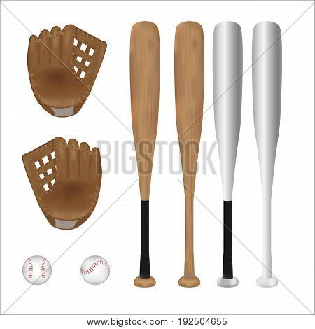Isolated of Baseball ball, Baseball Bat and Baseball glove with white background. vector . illustration. graphic design. object.