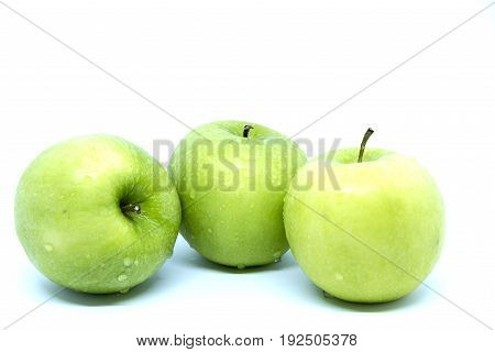 3 green apple isolated on white background
