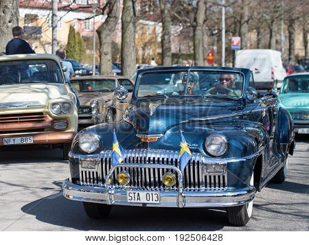 NORRKOPING, SWEDEN - MAY 1, 2017: De Soto Custom Convertible, 1948 at vintage car parade in Norrkoping. This parade started in 1974 and has become an annual tradition on May Day.