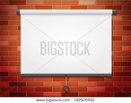 Projection screen on a brick wall. Vector illustration.