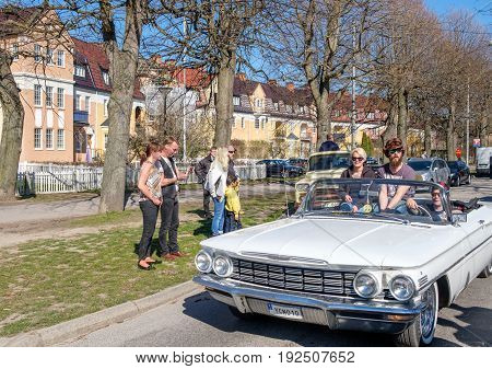 NORRKOPING, SWEDEN - MAY 1, 2017: Oldsmobile Dynamic series 88, 1960 at vintage car parade in Norrkoping. This parade started in 1974 and has become an annual tradition on May Day.