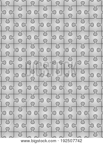 Grey jigsaw puzzle pieces pattern background. Vector illustration.