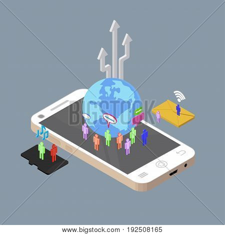 Isometric people chatting to other through electronic devices, social media, social network, vector illustration.