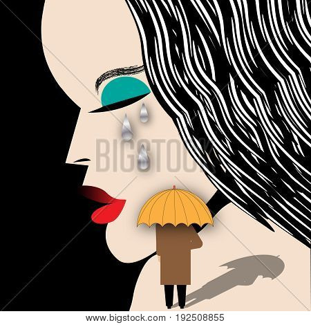 A crying woman and a man with an umbrella are featured in a humorous surreal illustration.