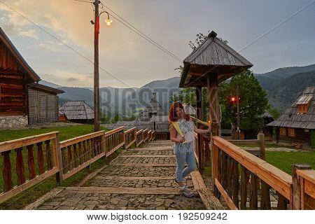 Mokra Gora, Serbia - June 02, 2017: Drvengrad (Mecavnik/Kustendorf) Eco village built by Emir Kusturica in Mokra Gora of in Western Serbia