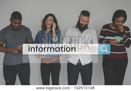 Information Word in Search Bar Magnifying Glass Graphic