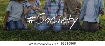 Kids Friendship Togetherness Society Word Graphic Hashtag