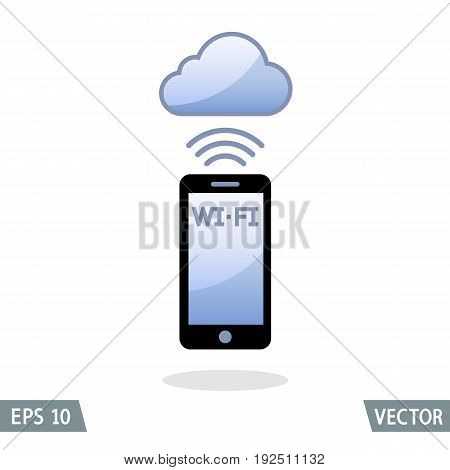 Smartphone and wireless connection to cloud network. Vector Illustration.