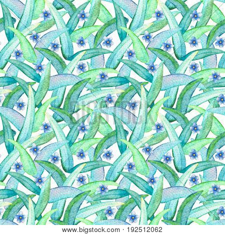 Blue flower seamless pattern. Hand-painted watercolor floral illustration. Forget-me-not flower pattern tile. Gentle pastel flowers and leaves.
