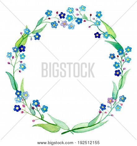 Forget-Me-Not wreath watercolor illustration. Spring flower Forgetmenot with petals and leaves. Handdrawn floral wreath. Spring wedding design clipart. Blue flower arrangement. Forget-me-not frame