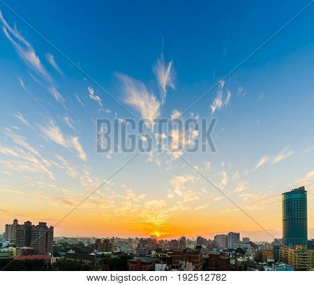 Sunset Sky with Cirrus Clouds showing gold and blue color over big city view