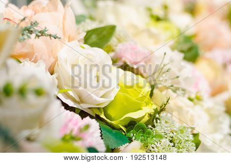 Background of beautiful fabric made white green peach and pink roses and leaves. Selective focus of nature background under sunlight for celebration decoration exhibition or special occasion