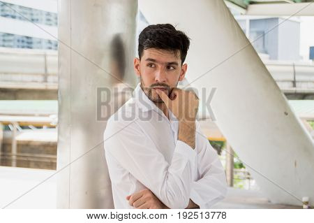 Thoughtful Businessman Thinking Aspirations Goals Contemplating Concept