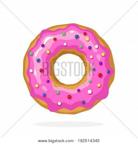 Vector illustration in cartoon style. Donut with pink glaze and colored sugar dragees. Decoration for menus, signboards, showcases