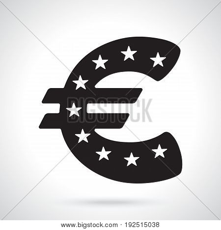 Vector illustration. Silhouette of euro sign with stars. The symbol of world currencies