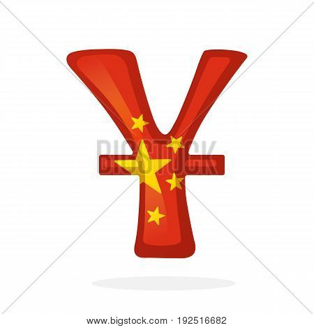 Vector illustration. Sign of yuan in national flag colors with one line. Symbol of world currencies