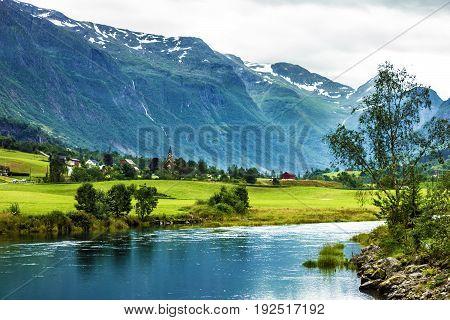 Norway - mountain landscape in village Olden.