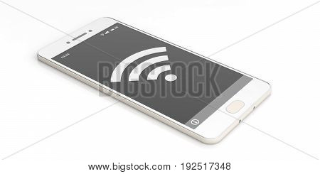 Wifi Symbol On A Smartphone Screen. 3D Illustration