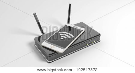 Wifi Router And A Smartphone On White Background. 3D Illustration