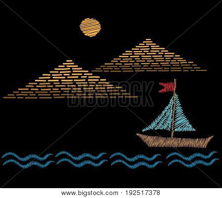 Pyramids with sun and boat embroidery stitches imitation. Embroidery vector illustration with pyramids and ship. Vector gold pyramids and sun.